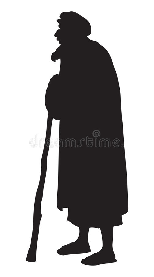 Free Old In National Dress. Vector Drawing Stock Images - 81970354