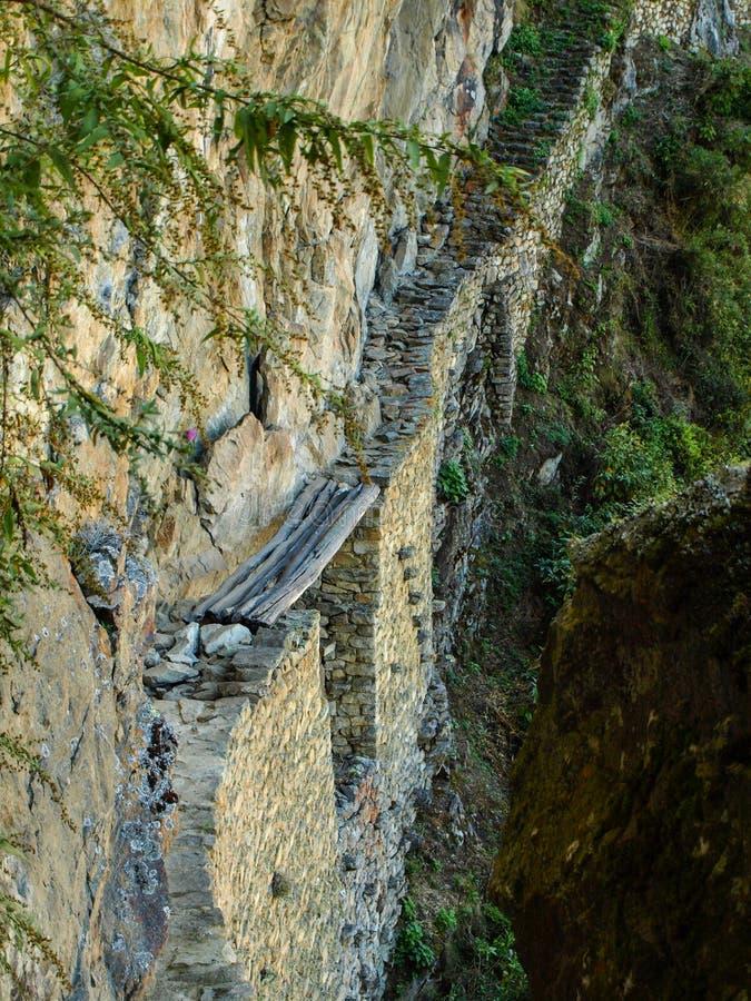 Old Inca's bridge near Machu Picchu stock photo