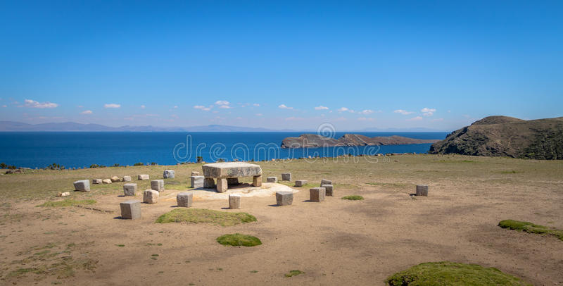 Old Inca Stone Ceremonial Table at Isla del Sol on Titicaca Lake - Bolivia stock image