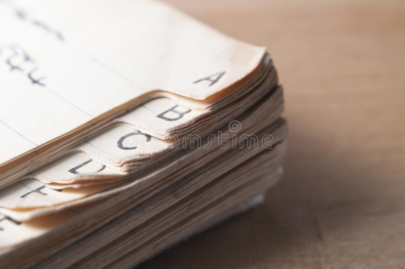 Old Index Book royalty free stock image