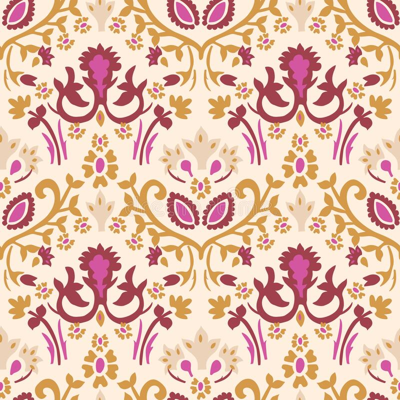 Free Old Indian Arabesque Damask Seamless Vector Pattern. Ornate Spice Color Marsala Red Yellow Middle Eastern Style Royalty Free Stock Photo - 177771515