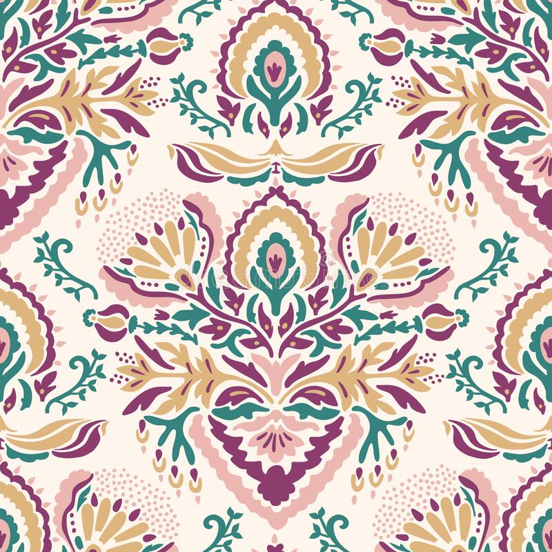 Free Old Indian Arabesque Damask Seamless Vector Pattern. Ornate Spice Color Marsala Red Yellow Middle Eastern Style Stock Image - 177772621