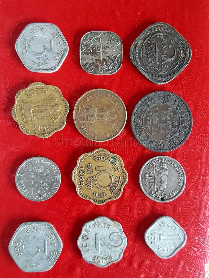 Old indian coins stock photo