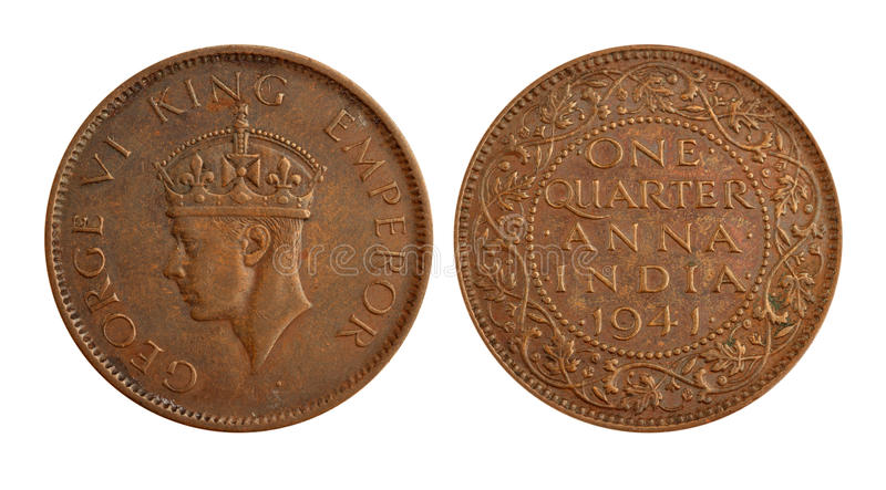 Download Old Indian Currency Coin - One Quarter Anna Royalty Free Stock Photos - Image: 22482608