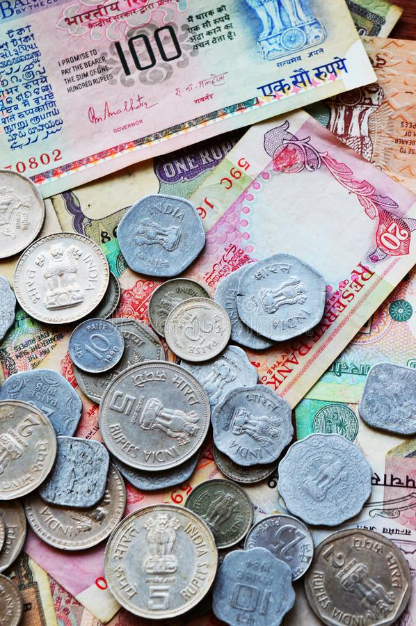 Old Indian currency collection, coins and currency.  stock photo