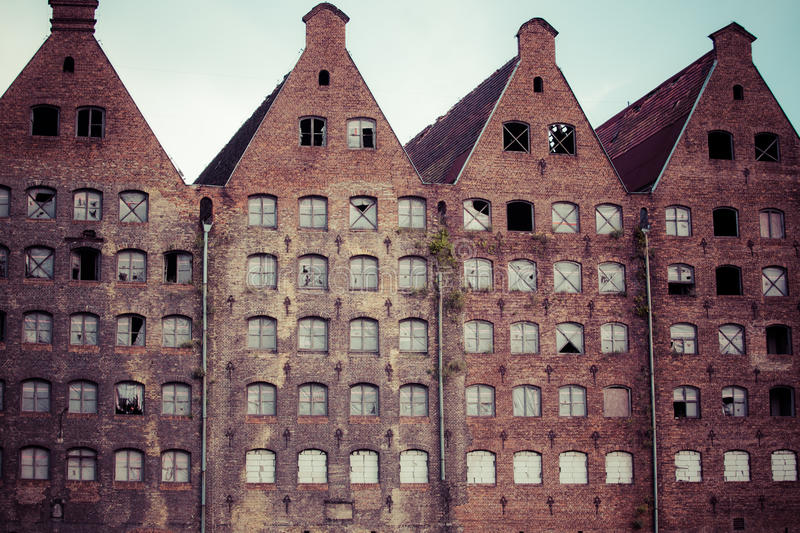 Old industrial building in Gdansk stock images