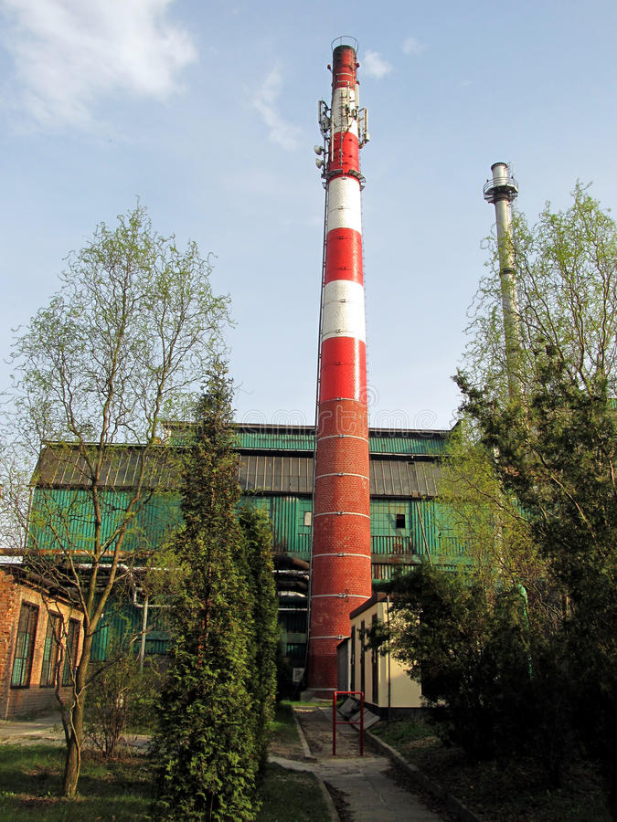 Download Old Industrial Chimney Made Of Brick Stock Image - Image of cable, collector: 39505569