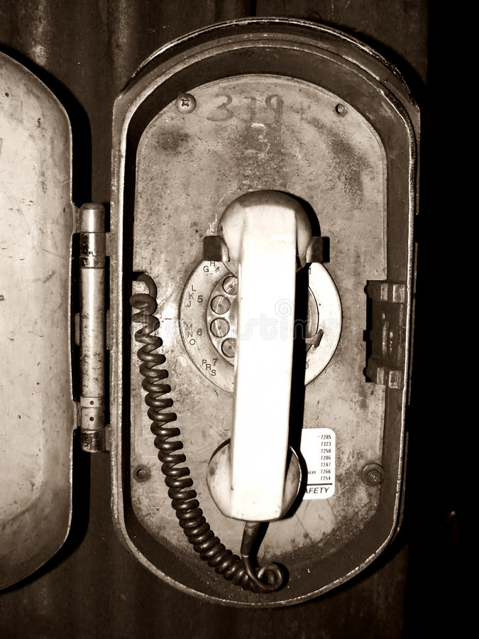 Old industrial emergency phone royalty free stock photo