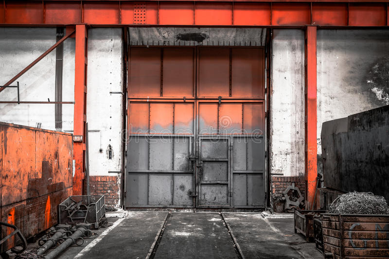 Old industrial metal gate stock photo