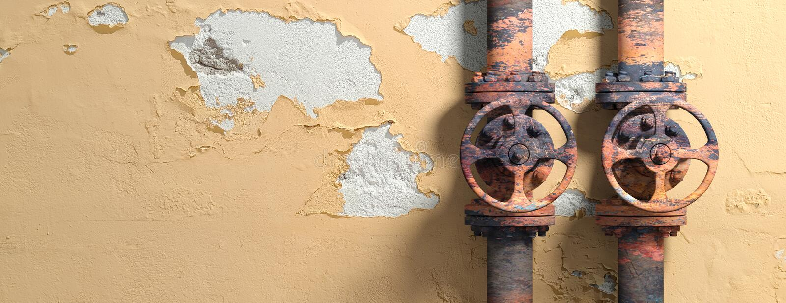 Old industrial pipelines and valves on weathered wall background, banner, copy space. 3d illustration stock illustration