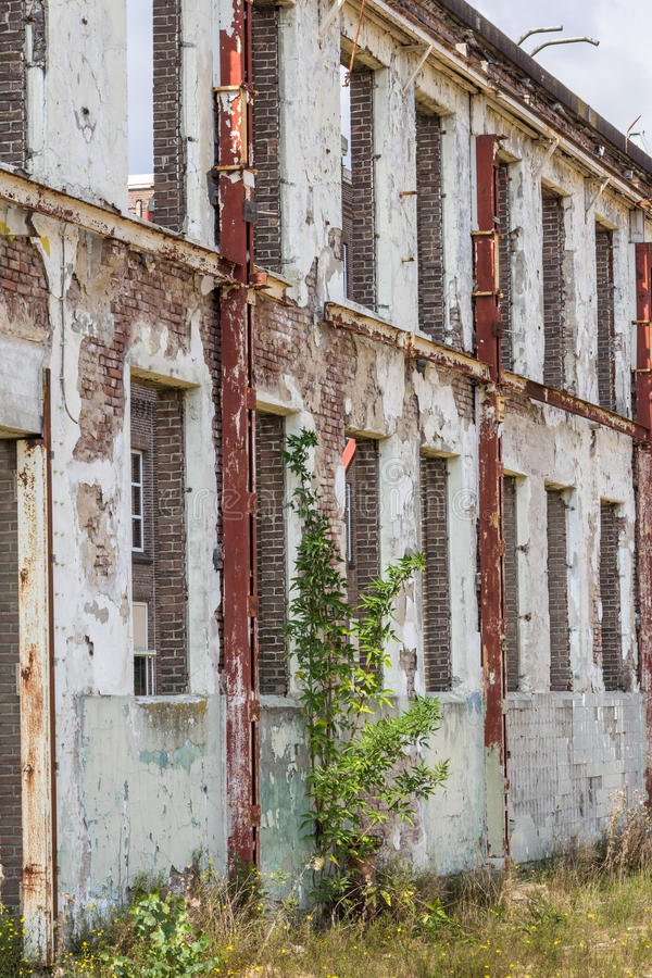 Old industrial wall with windows. And sky at the bacjground royalty free stock photos