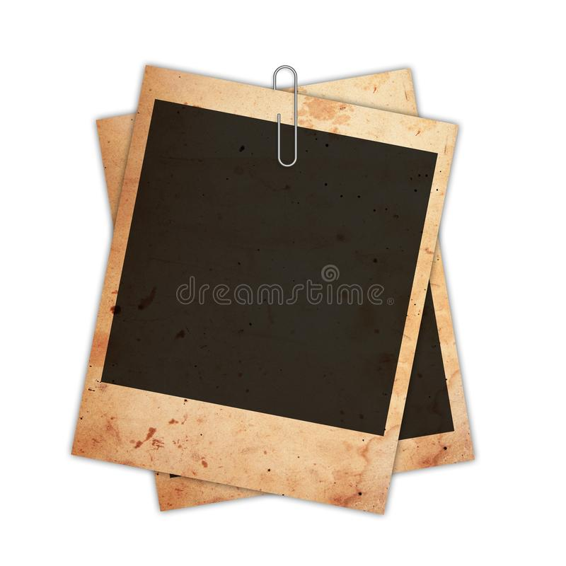 Old instant photo card isolated on white. Old instant photo cards isolated on white background royalty free stock photos
