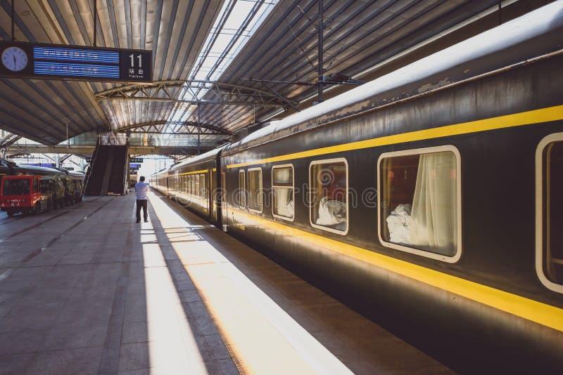Old intercity train in Beijing Railway Station stock photo