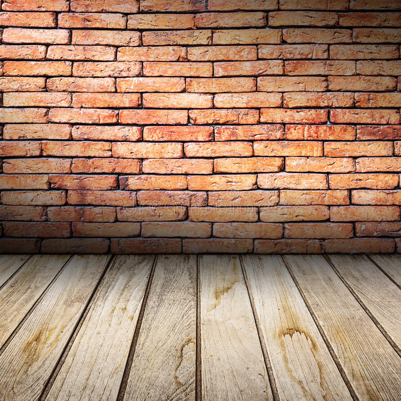 Interior Brick Flooring Pricing : Old interior with red brick wall and wooden floor stock