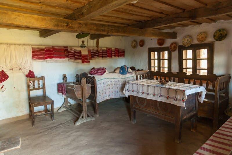 Old interior of the Ukrainian hut stock photography