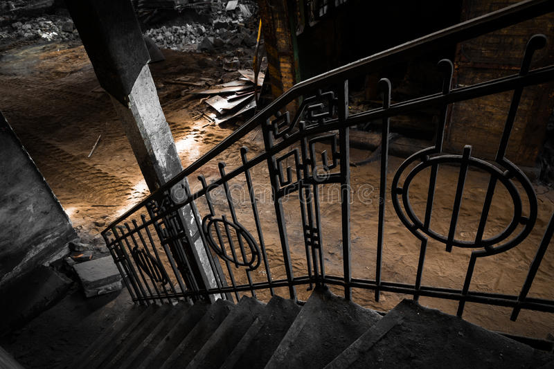 Download Old Iron Banister In A Factory Waiting For Dismolition Stock Photo - Image: 33351404