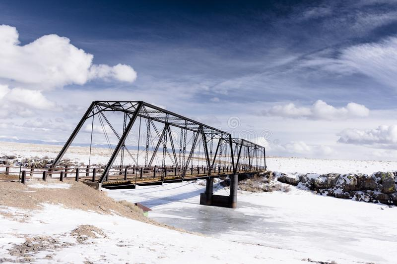 Old iron bridge on the colorado high plains royalty free stock images