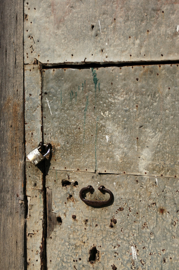 Download Old iron door and lock stock photo. Image of pull, marks - 3871634