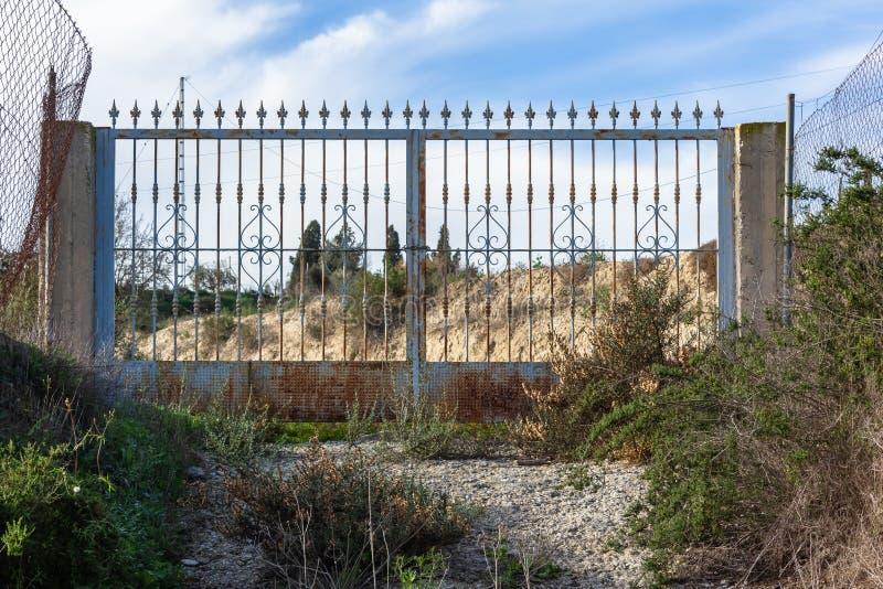 Old iron gate stock photos