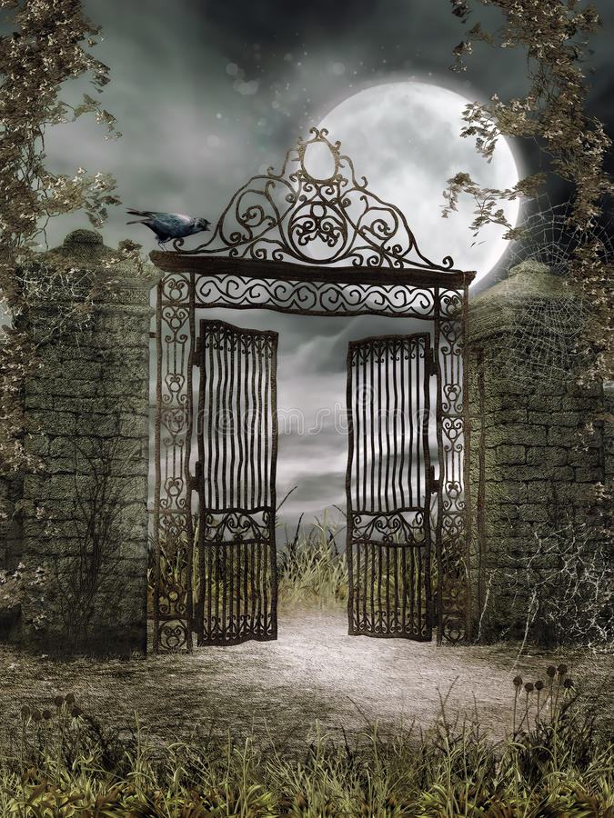 Old iron gate at night vector illustration