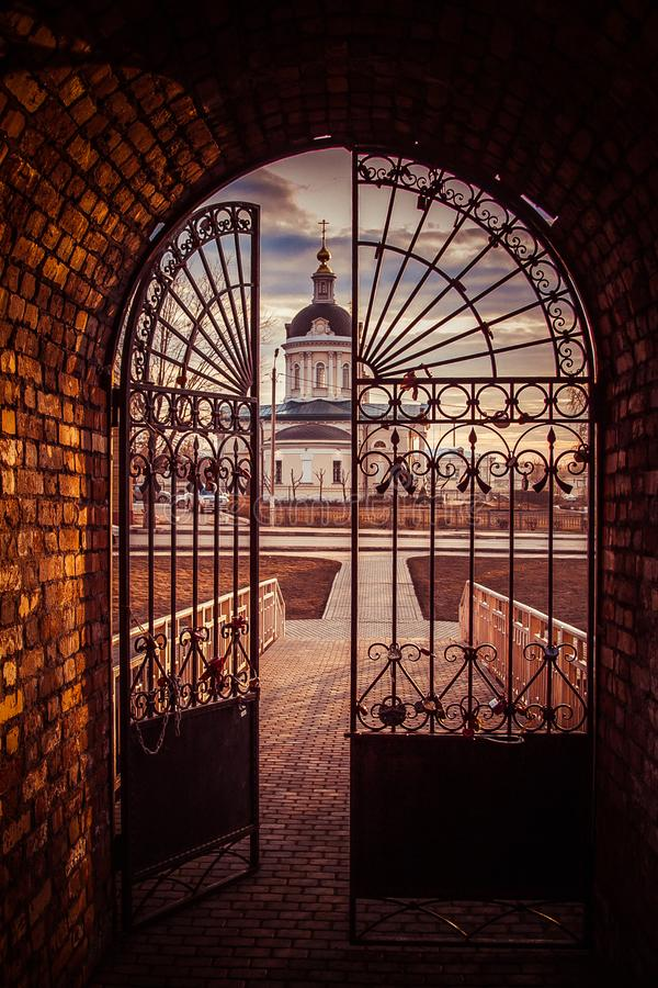 Steel gate to the city royalty free stock photos