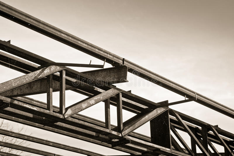 Old iron structure of an old abandoned factory of nineteenth century stock photo
