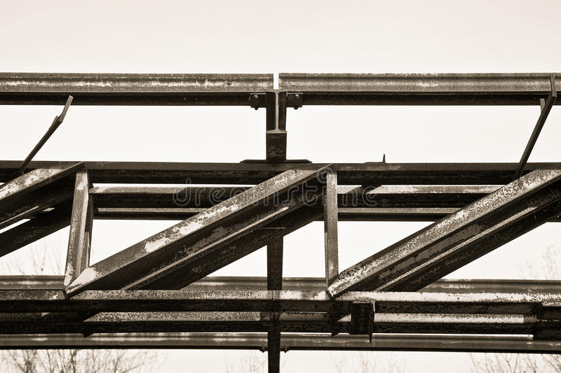 Old iron structure of an old abandoned factory of nineteenth century royalty free stock photography