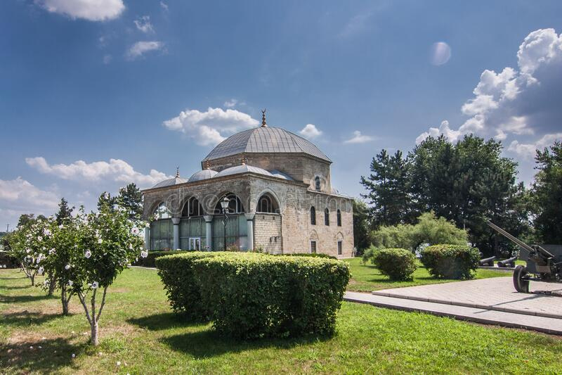 Old Islam mosque with garden in Izmail. Odesa oblast, Ukraine stock photos