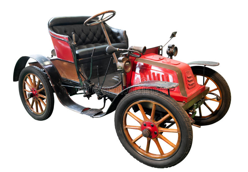 Old Isotta Fraschini car from 1906. Isolated old red, brown and black Isotta Fraschini car with cushioned leather seats and mudguards from 1906 stock photo