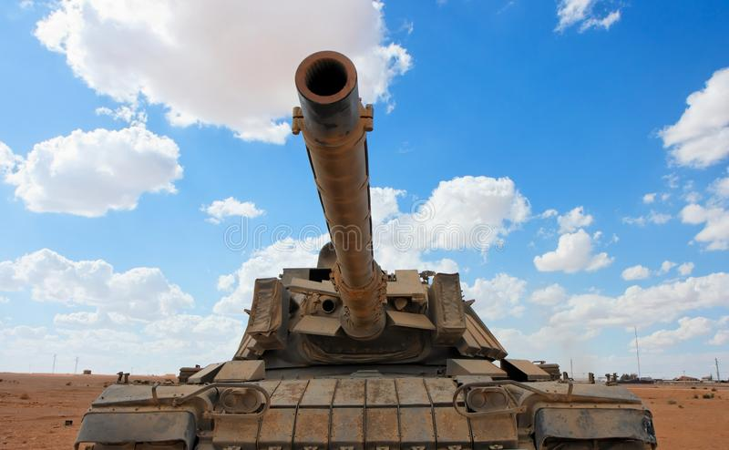 Old Israeli Magach tank near the military base in stock images