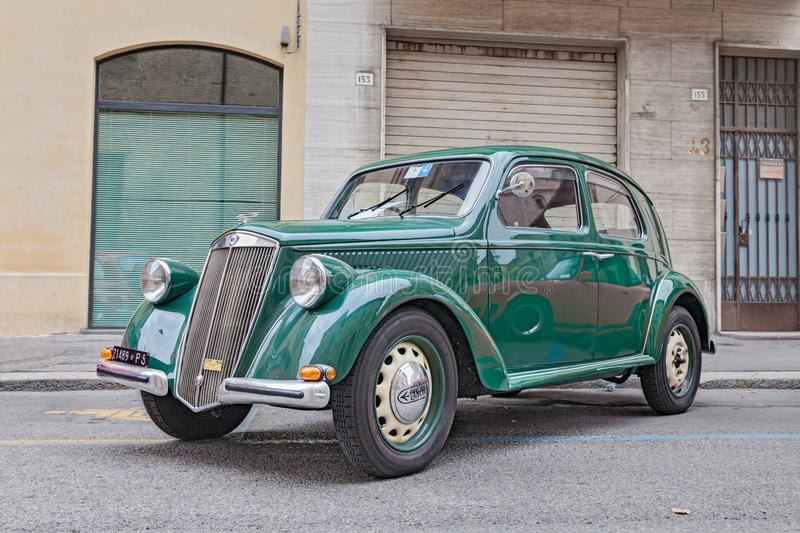 Old Italian car Lancia Ardea (1951). At rally of classic cars, during the festival Borghi in festa on October 20, 2013 in Forli, Italy stock photos