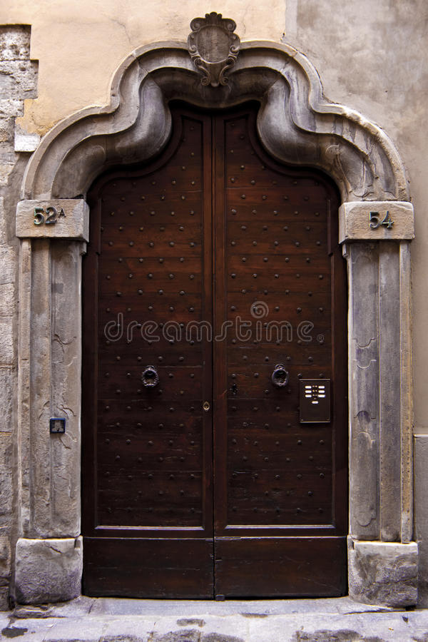 Old Italian door. stock photos