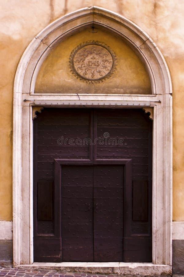 Old Italian door. stock photo