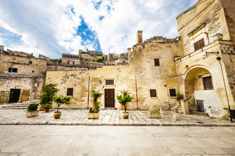 Old Italian stone buildings. Matera, Italy royalty free stock images