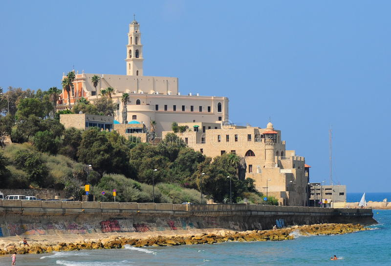 Old Jaffa. A view to Old Jaffa and St.Peter church as seen from Tel-Aviv side royalty free stock photography