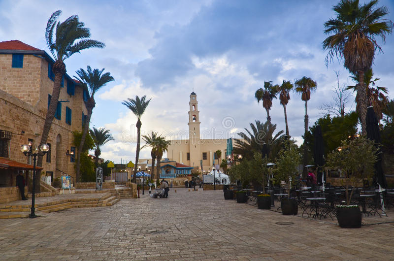 Old Jaffa. The centre of old city of Jaffa, Israel. In the photo: St Peter's church jaffa stock photos