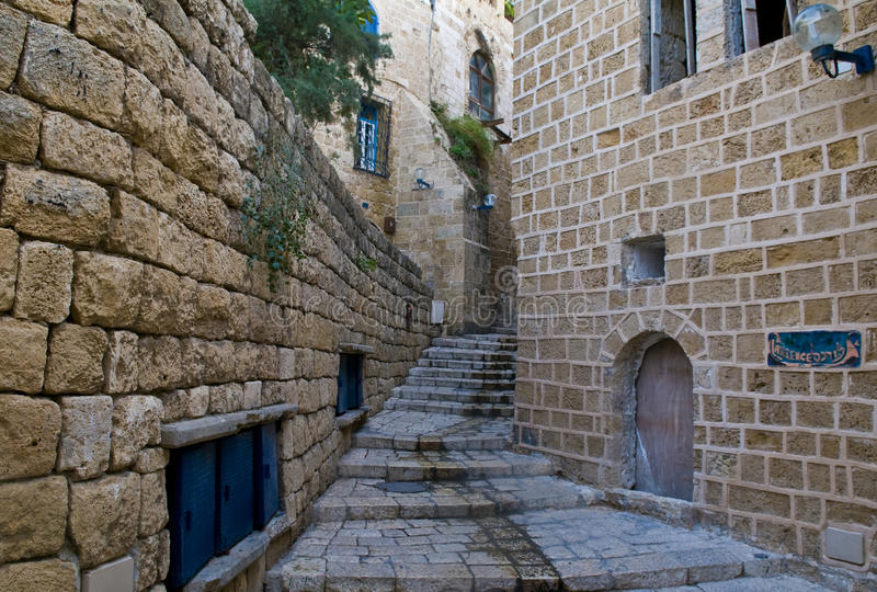 Old Jaffa. A narrow street in historic Jaffa , Israel royalty free stock photography