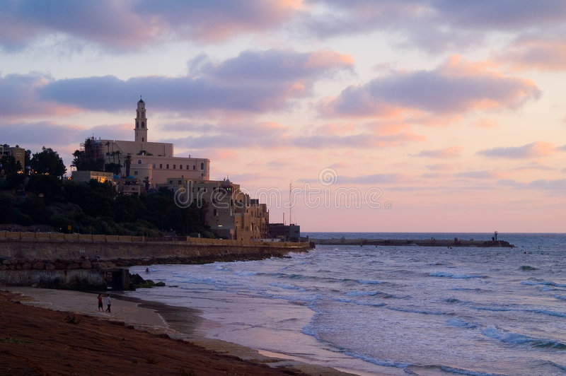 Old Jaffa. A view of old city of Jaffa in Mediterranean sunset stock image