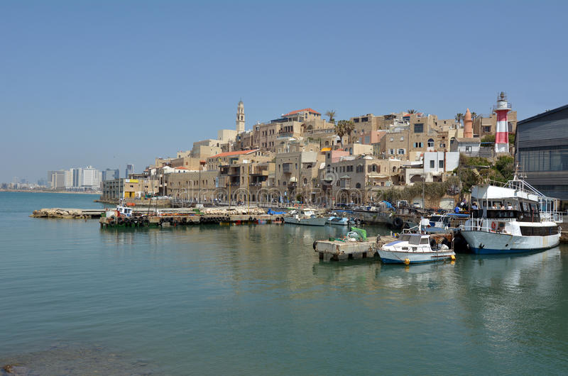 Old Jaffa city port in Tel Aviv Jaffa - Israel. Landscape view of old Jaffa city port in Tel Aviv Jaffa, Israel stock photos
