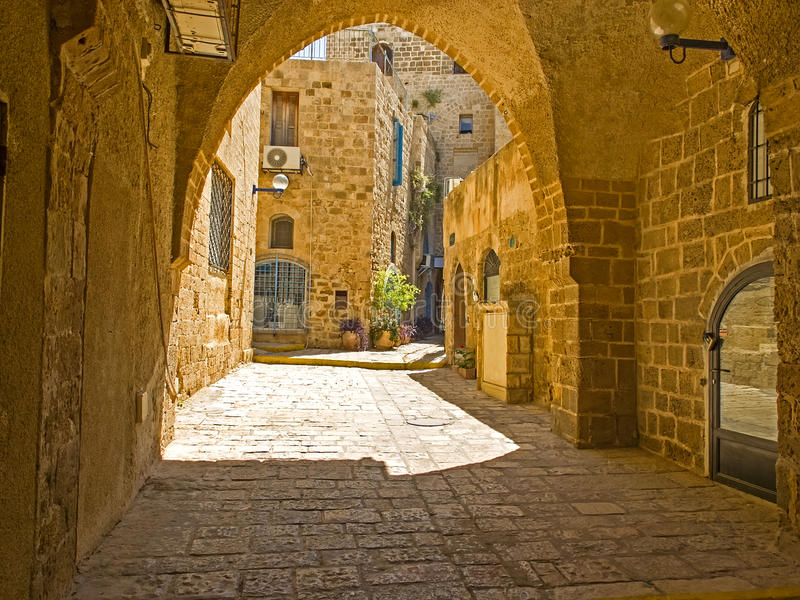 Old Jaffa street, Israel. Old street and old houses in Jaffa, Israel royalty free stock photo