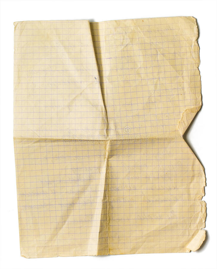 Old jammed paper sheet for math isolated. On white royalty free stock images
