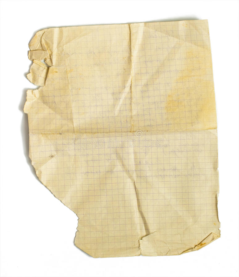 Download Old Jammed Paper Sheet For Math Isolated Stock Photo - Image: 11735716