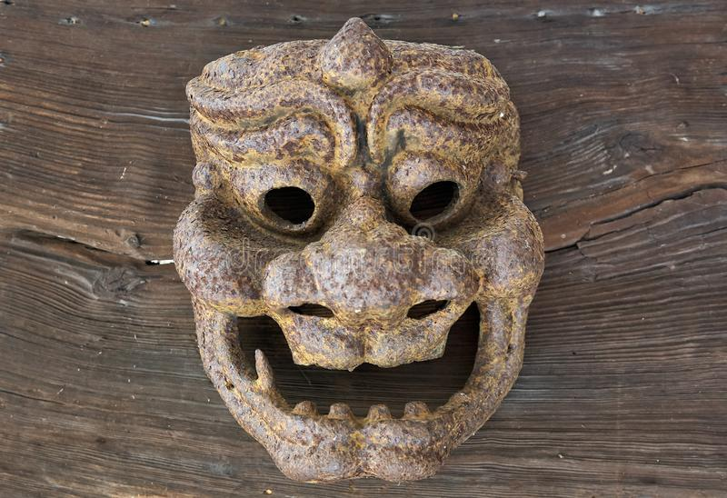 Old Japanese demon mask royalty free stock photos
