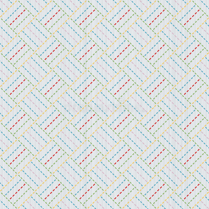 Old japanese quilting. Sashiko. Seamless pattern. stock illustration