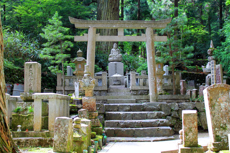 Old japanese shrine behind a traditional gate stock images