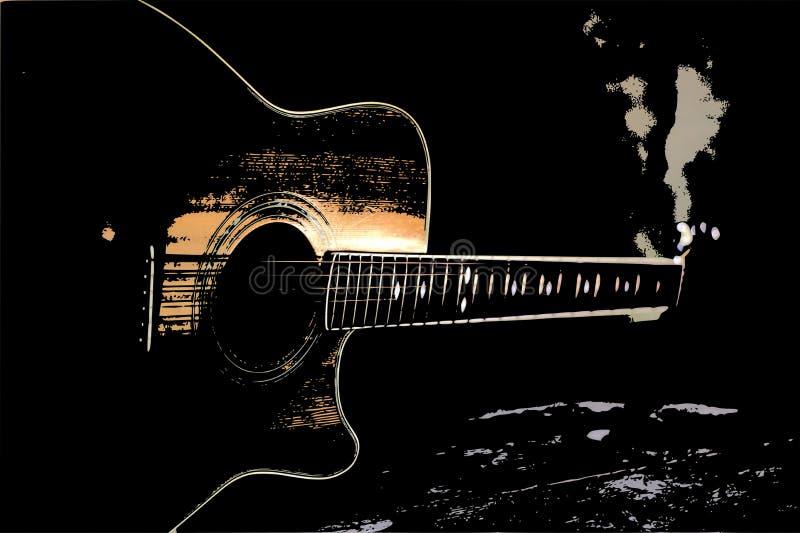 an old jazz guitar vector illustration