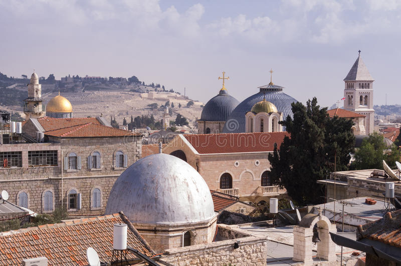 Old Jerusalem citysacpe. Domes, Minarets and bell towers at the old city of Jerusalem stock photos