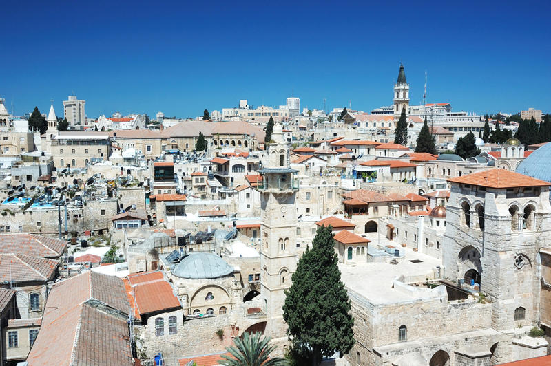 Old Jerusalem view from Redeemer's church royalty free stock photography