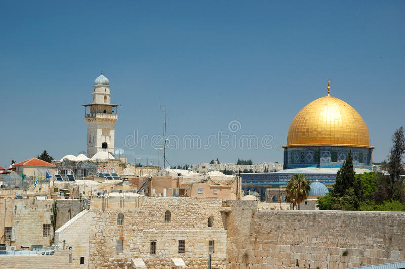 Old Jerusalem-wailing wall and Omar mosque stock photos