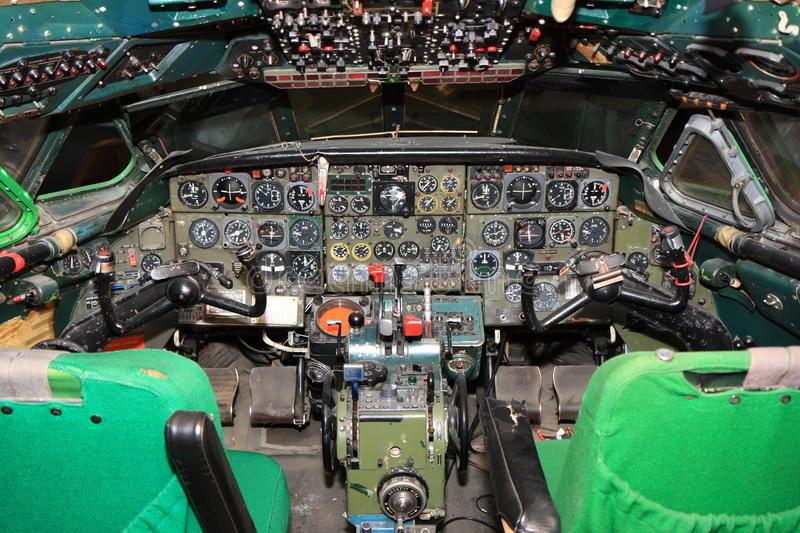 Old jet airliner cockpit. Cockpit of an old Caravelle airliner stock photo